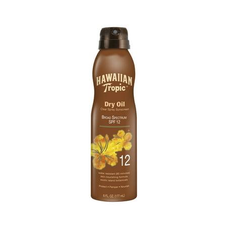 Hawaiian Tropic Dry Oil Clear Spray Sunscreen SPF 12, 6