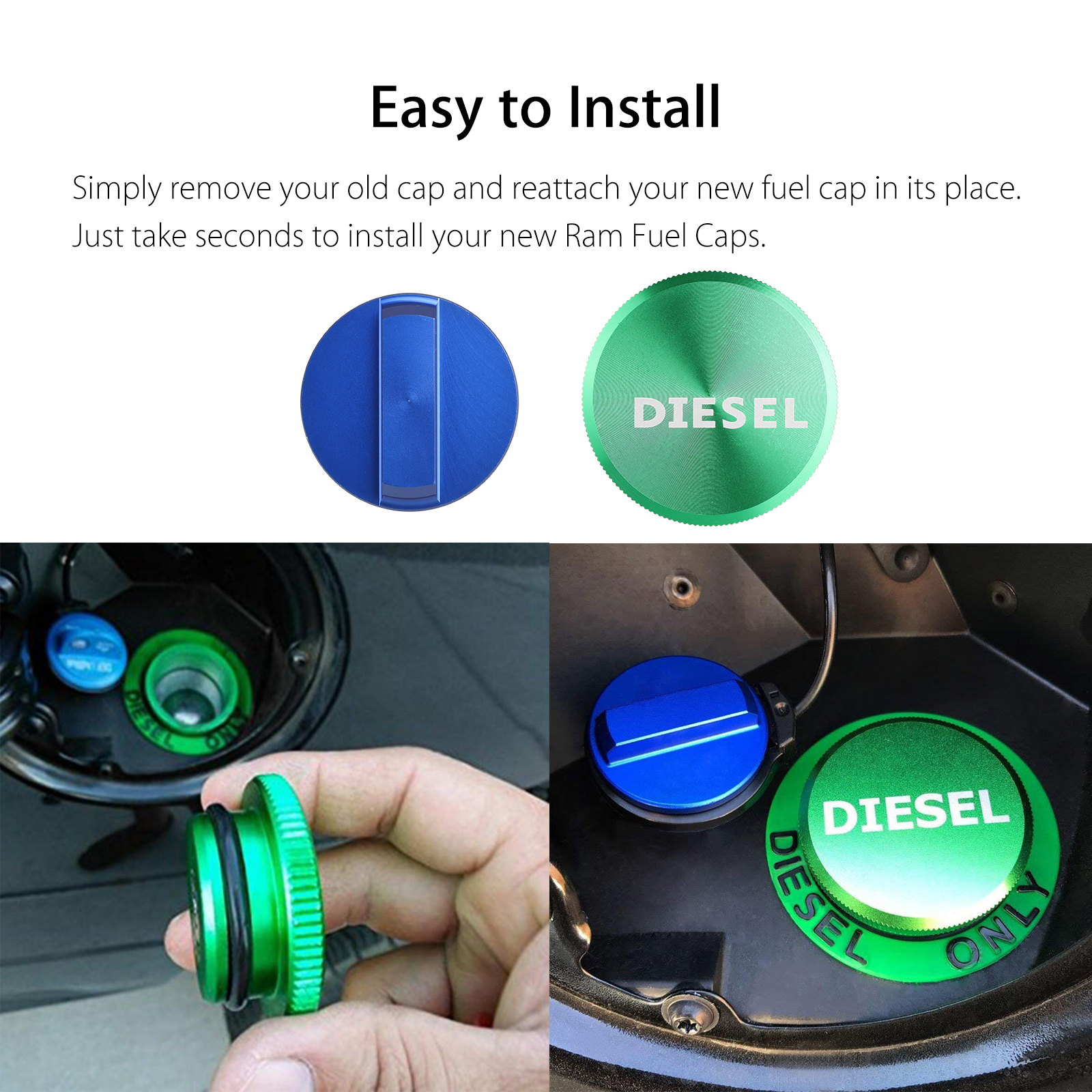 Easy Grip DEF Cap Accessory for 2013-2018 Dodge RAM Truck 1500 2500 3500 with 6.7 Cummins EcoDiesel Combo Pack Magnetic Diesel Fuel Cap