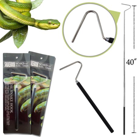 """[2 Pack]Collapsible Snake Hook Extend to 40"""", iClover Telescoping Pocket Stainless Steel Snake Reptile Herp Safe Hook Handle Tools"""