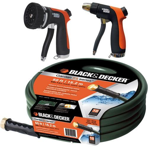 """Black & Decker 5/8"""" Heavy-Duty Garden Hose with Nozzle, 50'"""