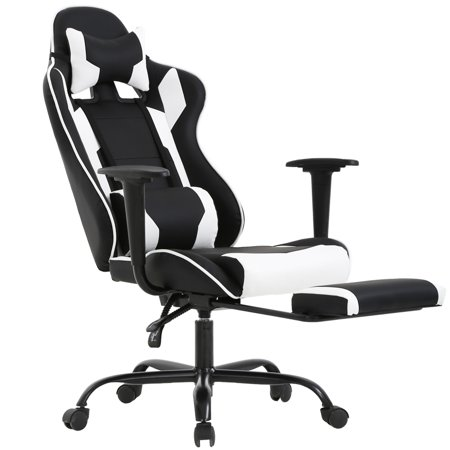 Gaming Chair Racing Style High-Back Office Chair Ergonomic Swivel (Leather Chair Swivel White Seat)