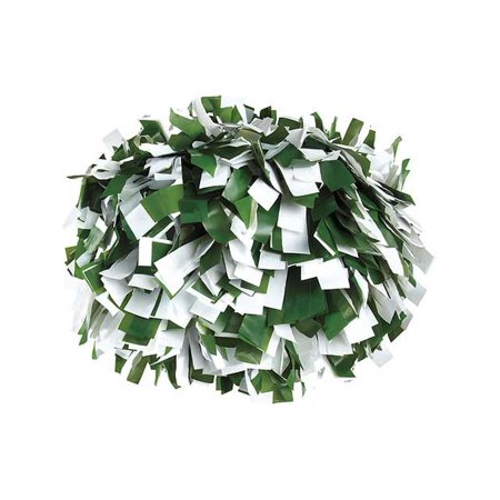 Pizzazz Forrest Green White 2 Color Plastic Cheer Single Pom Pom
