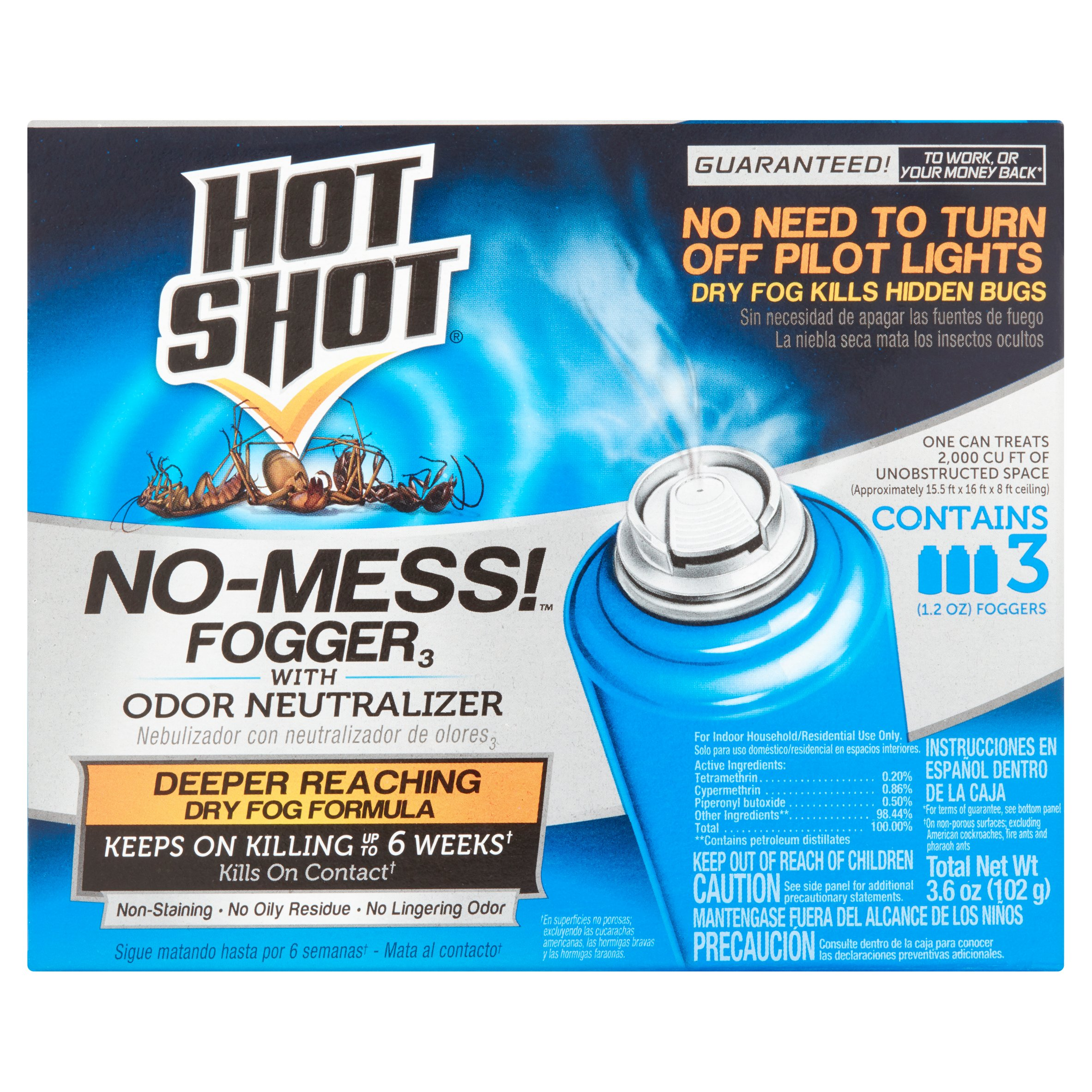 Hot Shot Fogger No-Mess With Odor Neutralizer, 3-Count, 1.2-Ounce