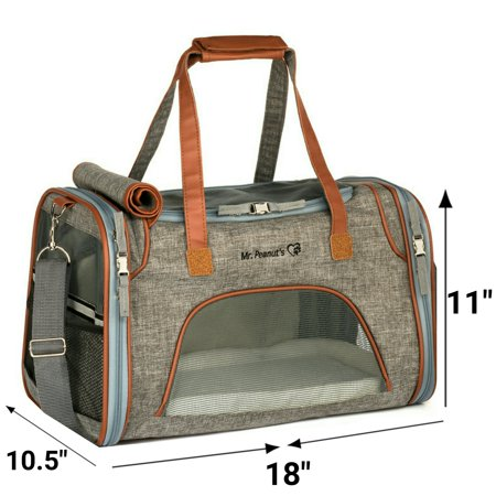 Small Open Pet Tote - Airline Approved Soft Sided Pet Carrier by Mr. Peanut's, Low Profile Travel Tote with Fleece Bedding, Premium Zippers & Metal Safety Clasp, Under Seat Compatibility, Perfect for Cats and Small Dogs