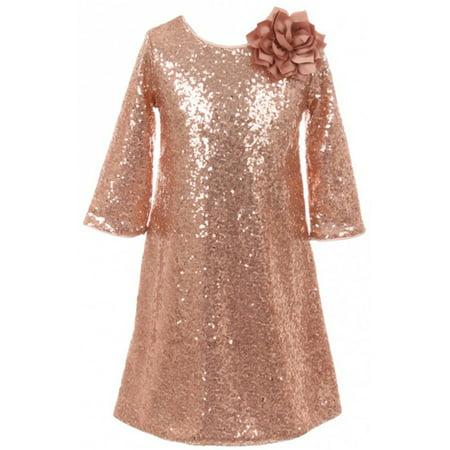 Little Girls Shiny Sequin Short Sleeve Holiday Christmas Party Flower Girl Dress Blush 4 (K40D8)