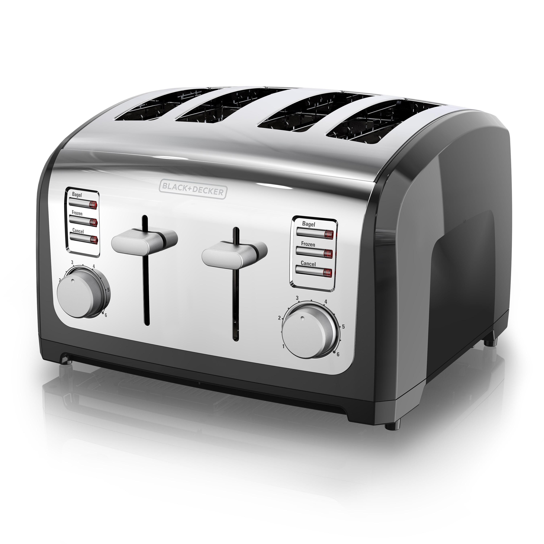 BLACK+DECKER 4-Slice Toaster, Black/Silver, T4030