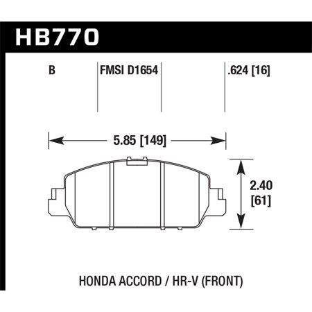 Hawk 13-17 Honda Accord HPS 5.0 Front Brake Pads (Hawk Hps Brake Pads)