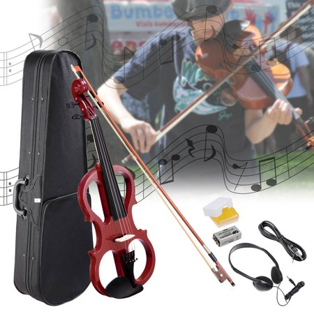 4/4 Electric Violin Full Size Wood Silent Fiddle Stringed Musical Instrument Bow Headphone Case ()