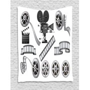 Movie Theater Tapestry, Movie Industry Themed Greyscale Illustration of Projector Film Slate and Reel, Wall Hanging for Bedroom Living Room Dorm Decor, 40W X 60L Inches, Grey Black, by Ambesonne
