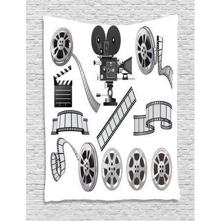 Movie Theater Tapestry, Movie Industry Themed Greyscale Illustration of Projector Film Slate and Reel, Wall Hanging for Bedroom Living Room Dorm Decor, 40W X 60L Inches, Grey Black, by Ambesonne - Film Reel Decor