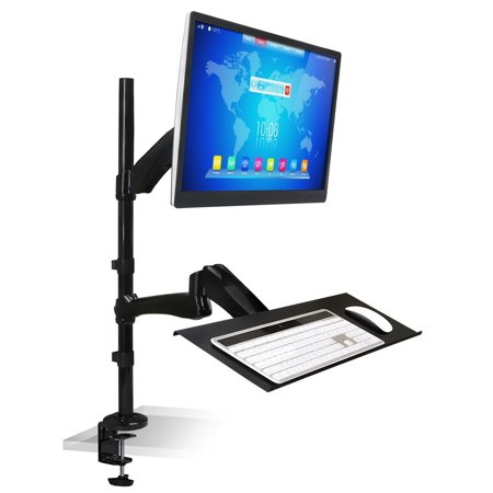 (Mount-lt! MI-7921 - Mounting kit (C-clamp, grommet base, desk mount pole, keyboard tray, 2 adjustable arms) for monitor / keyboard (Full-Motion) - heavy duty steel - screen size: 18