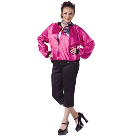 7251e5d3e8e 50S Pink Ladies T-Bird Sweetie Jacket Grease Adult Womens Plus Costume -  Walmart.com