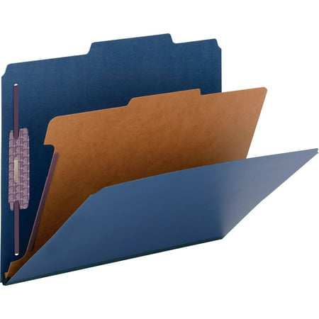 "Smead Pressboard Classification File Folder with SafeSHIELD® Fasteners, 1 Divider, 2"" Expansion, Letter Size, Dark Blue, 10 per Box (13732)"