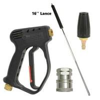 "Interstate Pneumatics PW72K1623 Rear Inlet Spray Gun, 16"" Lance, 1/4"" FNPT Rotary Nozzle & Stainless Steel Coupler Kit"