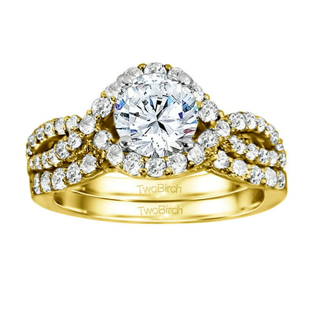 2 Ring Bridal SET:Engagement ring with Diamonds (G,I2) and Moissanite Center in 14k Two Tone Gold(1.82tw) 14k Two Tone Solitaire Mounting