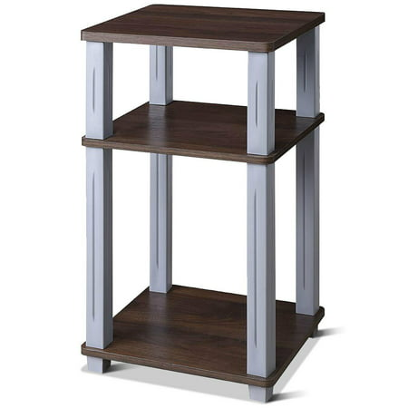 Costway 3-Tier Square Storage Shelves End Table Night Stand Display Living Room - Living Room Square End Table