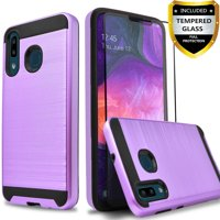 Samsung Galaxy A20 Case, 2-Piece Style Hybrid Shockproof Hard Case Cover with [Tempered Glass Screen Protector] Hybird Shockproof And Circlemalls Stylus Pen-Purple