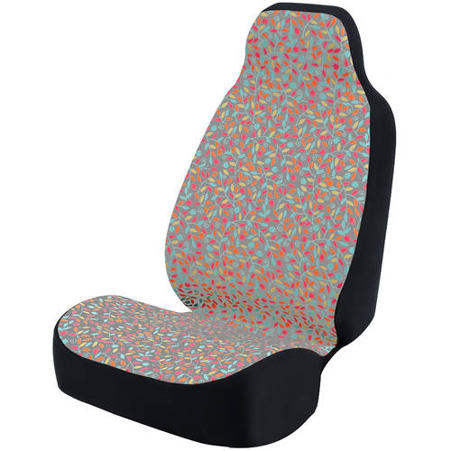 Coverking Universal Seat Cover Fashion Print, Ultra Suede, Vivid Flowers Pink and Blue and Grey Background with Black Interlock Backing
