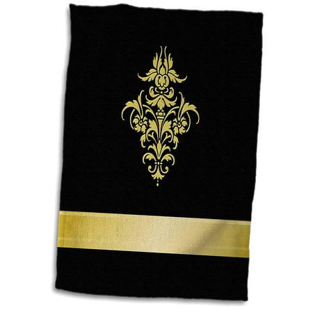 3D Rose Stylish Faux Gold Effect Damask Element on Black Background Hand Towel 15 x 22 Damask Guest Towel