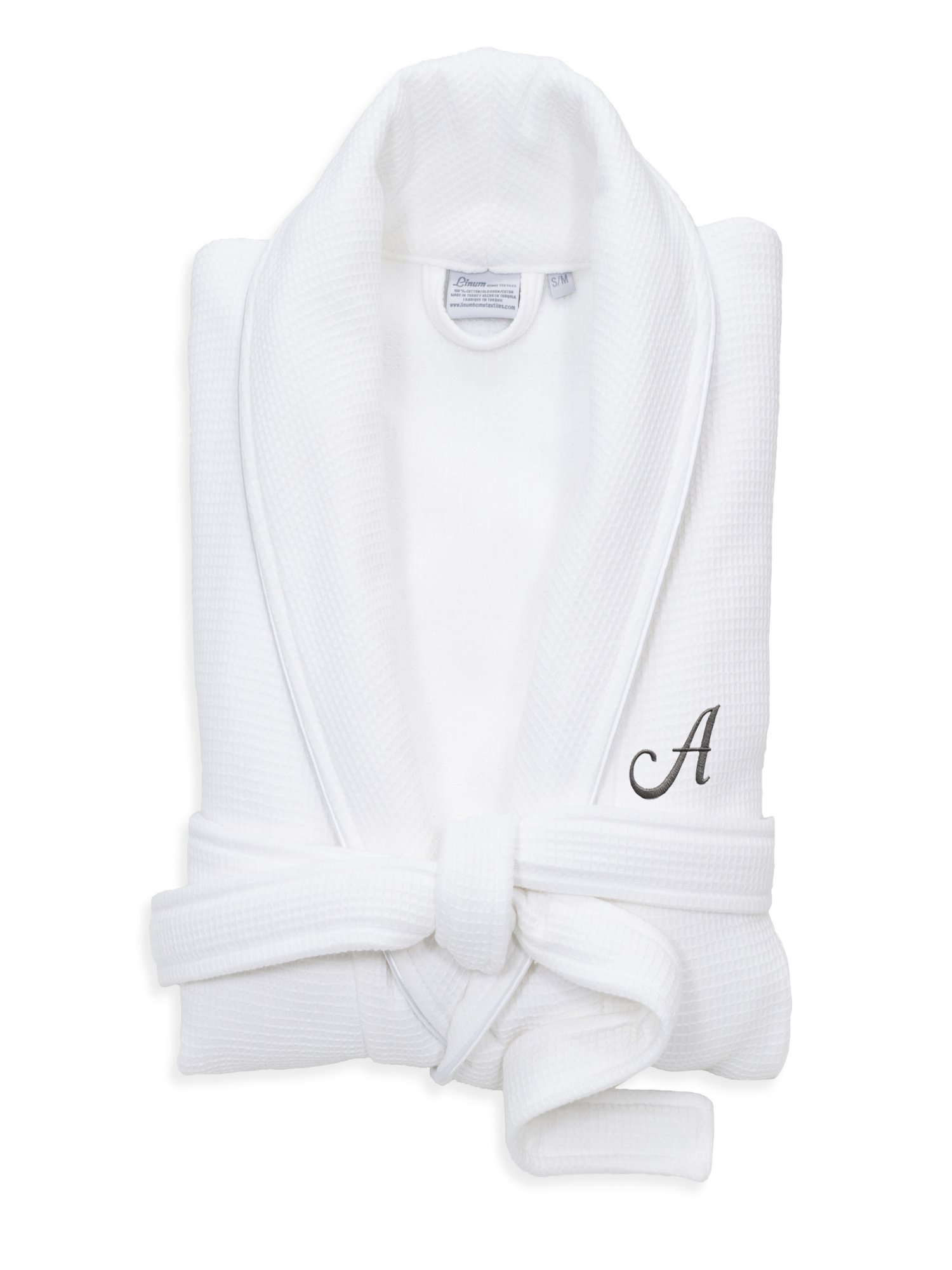 Linum Home Textiles - Linum Home Textiles Hotel Turkish Cotton Waffle Terry  Bathrobe with Satin Piped Trim - Personalized - White - Walmart.com 624e97a80