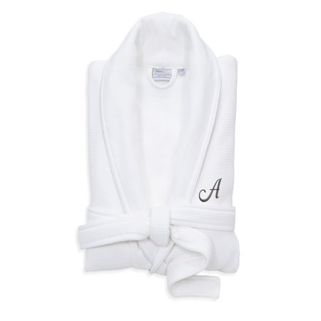 Linum Home Textiles Hotel Turkish Cotton Waffle Terry Bathrobe with Satin Piped Trim - Personalized - White