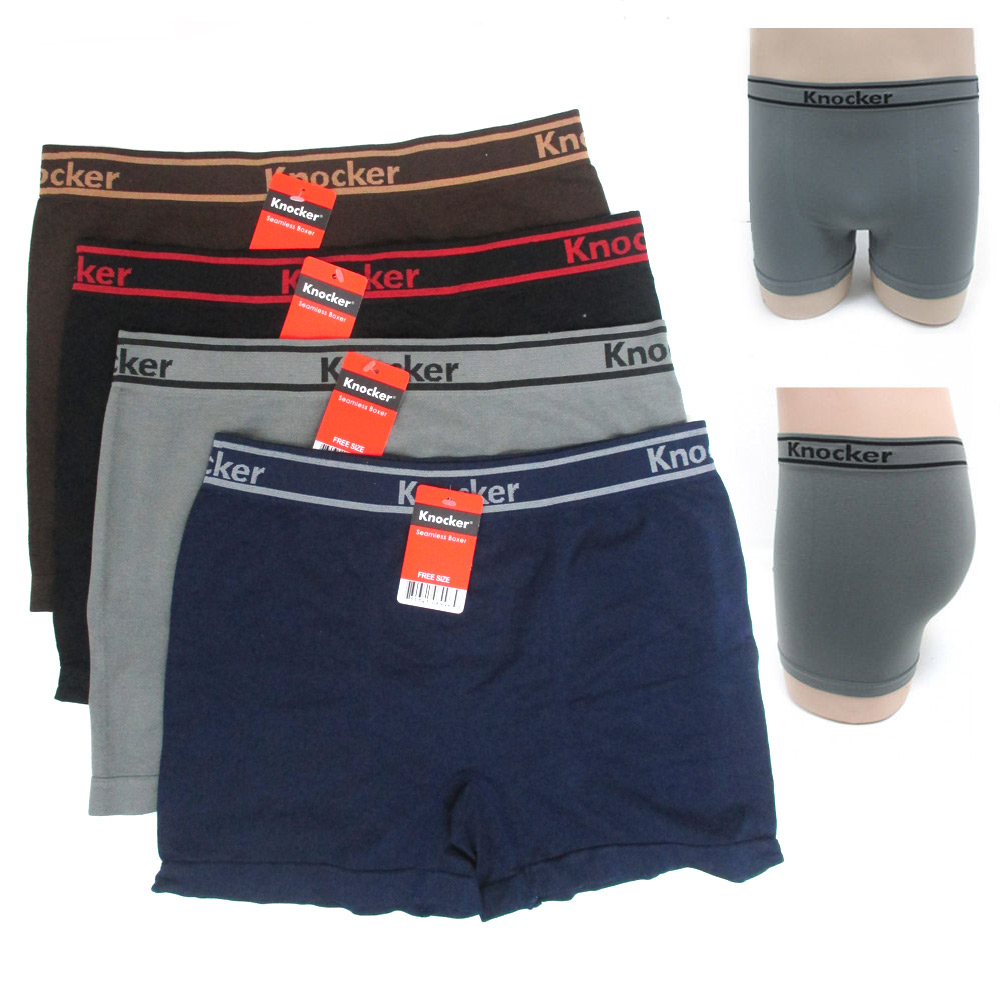 3 Mens Seamless Boxers Briefs Underwear Athletic One Size Underpants  Knocker !!