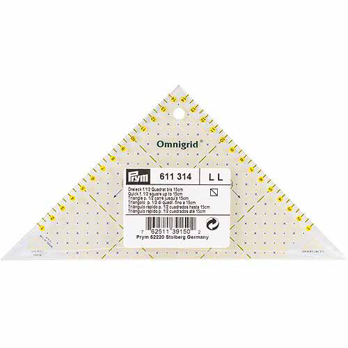 Dritz Omnigrid Metric Right Triangle Quilter's Ruler, For 1/2 Square Up To 15cm