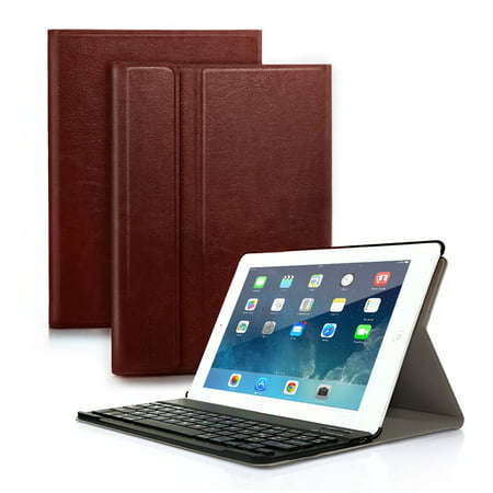 iPad Air2/iPad 6 Bluetooth Keyboard Folding PU Leather Smart Case Stand Cover+Removable Wireless Bluetooth