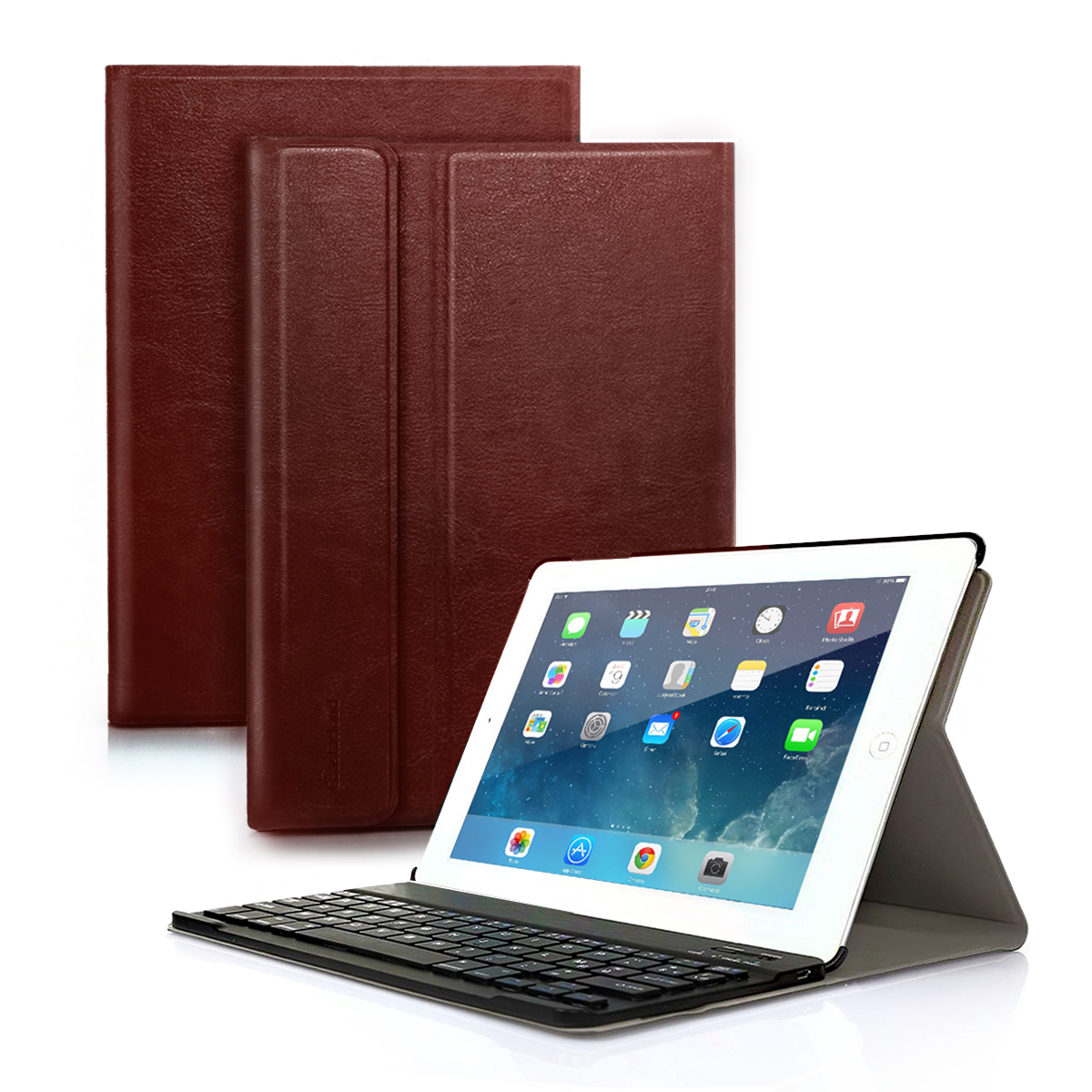 Wireless Bluetooth Keyboard with case cover PU Leather for iPad air 1 New Apple iPad 2017(9.7inch) Rechargeable  USB Cable Removeable Keyboard PU Leather