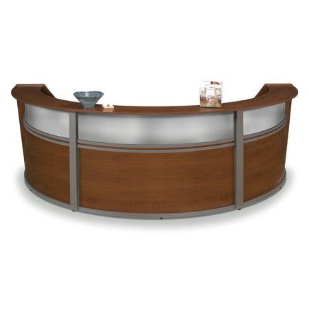 (OFM Marque Series Model 55313 Triple Unit Plexi Reception Desk Station, Cherry with Silver Frame)