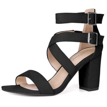 Criss Cross Ankle Strap (Unique Bargains Women's Crisscross Block Heel Ankle Strap Sandals )