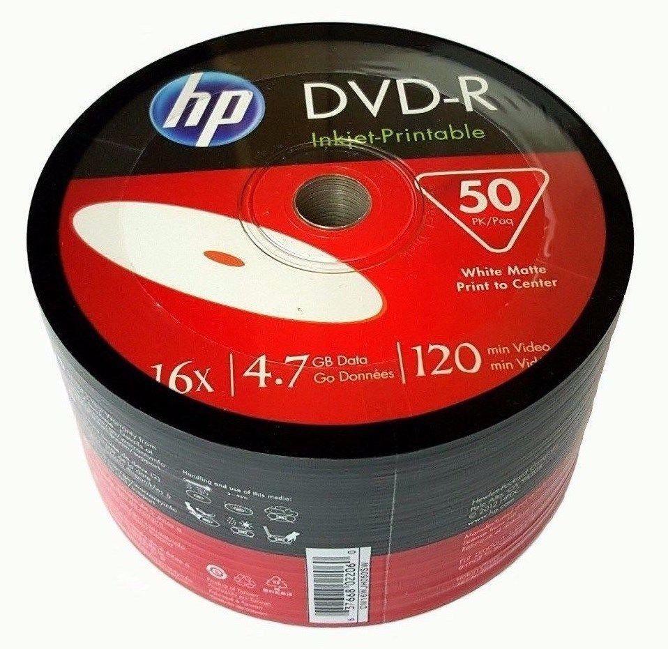 50 Pack HP Blank DVD-R DVDR White Inkjet Hub Printable 16X 4.7GB 120min Recordable Media Disc