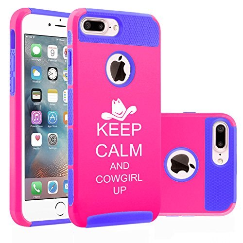 For Apple iPhone (7 Plus) Shockproof Impact Hard Soft Case Cover Keep Calm And Cowgirl Up (Hot Pink-Blue)