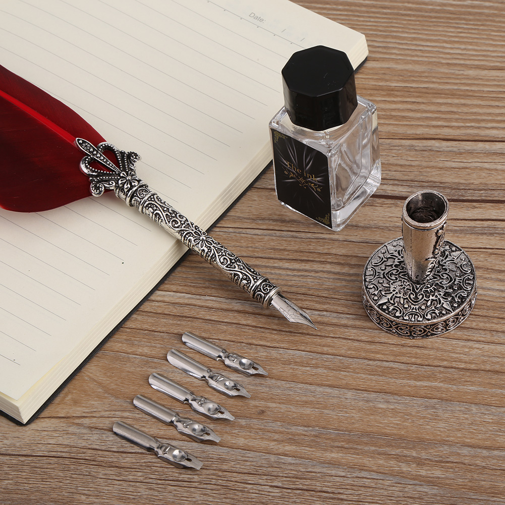Quill Pen and Powdered Ink Set of 2