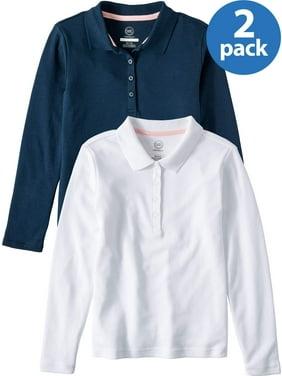 Wonder Nation Girls 4-18 School Uniform Long Sleeve Interlock Polo Shirt, 2-Pack Value Bundle