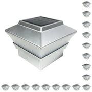 iGlow 18 Pack Copper / Silver / White Outdoor Garden 4 x 4 Solar LED Post Deck Cap Square Fence Light PVC Vinyl Wood