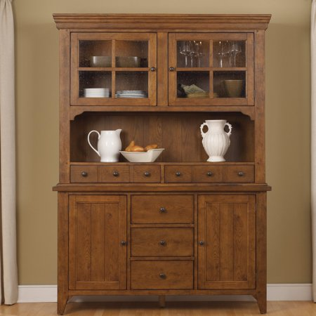 Liberty Furniture Industries Hearthstone Dining Buffet with Optional Hutch Cabinet Oak Veneer Buffet China