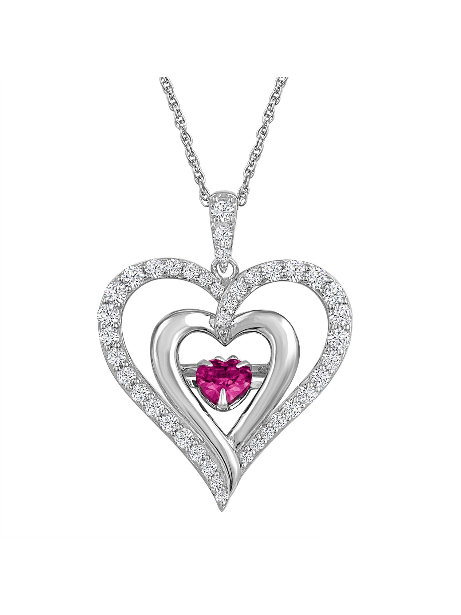 Silver heart pendant  faux ruby.