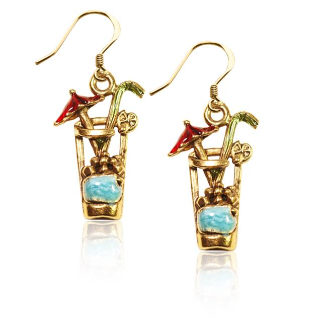 Whimsical Gifts 2669G-ER Cocktail Drink Charm Earrings in Gold
