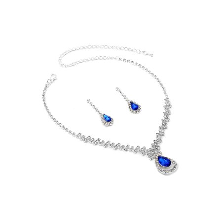 - Silver Crystal Rhinestone with Large Sapphire Teardrop Center Necklace and Matching Dangle Earrings Jewelry Set