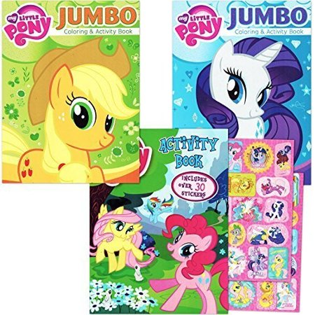 My Little Pony Coloring Book Super Set with Stickers (3 Jumbo Books -  Approximately 200 Pages and 30 My Little Pony Stickers Total Featuring  Rainbow ...