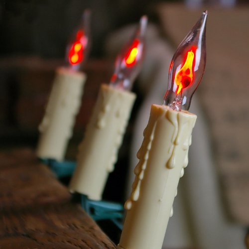 Novelty String Lights Candle Flicker Candles W Clips 13 Ft Plug In Ivory
