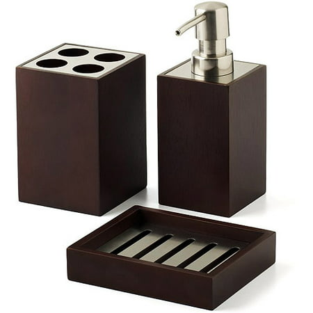 Hometrends mabry 3 piece bath accessories set brown for Bathroom accessories at walmart