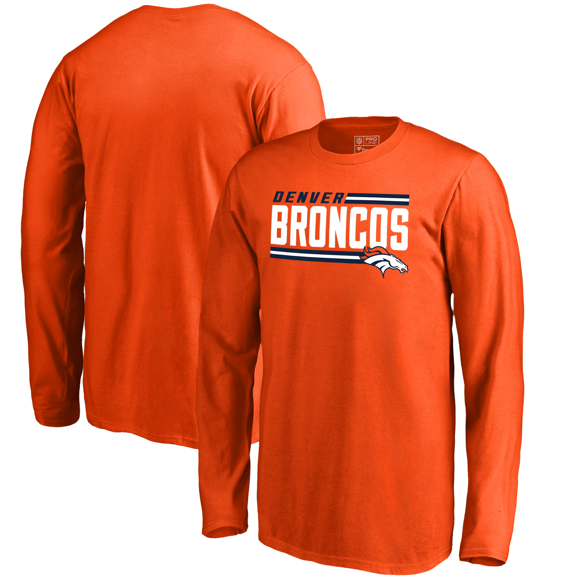 Denver Broncos NFL Pro Line by Fanatics Branded Youth Iconic Collection On Side Stripe Long Sleeve T-Shirt - Orange