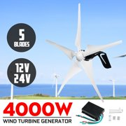 Wind Turbine Generator 4000W 5 Black Blades DC 12V/24V Windmill Strong Power Powered Controller Electric Aerogenerator Green Energy Generating