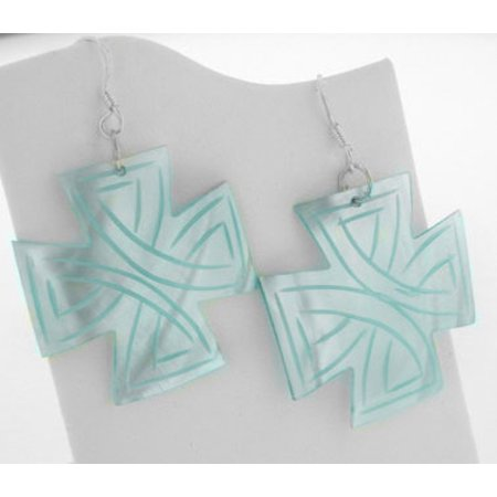 Sterling Silver Blue Carved Mother of Pearl MOP Shell Cross Shaped Earrings