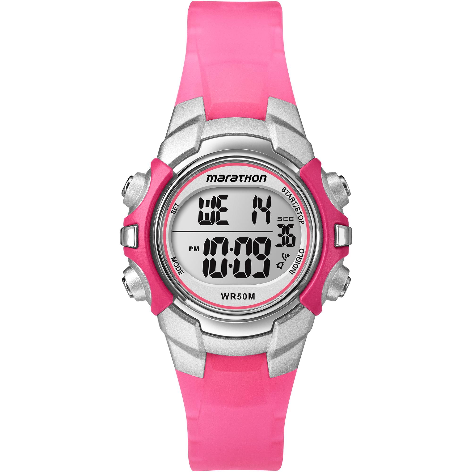 Marathon by Timex Unisex Digital Mid-Size Watch, Pink Resin Strap