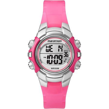 Walmart Spark Shop >> Marathon by Timex Women's Digital Mid-Size Watch, Pink Resin Strap - Walmart.com