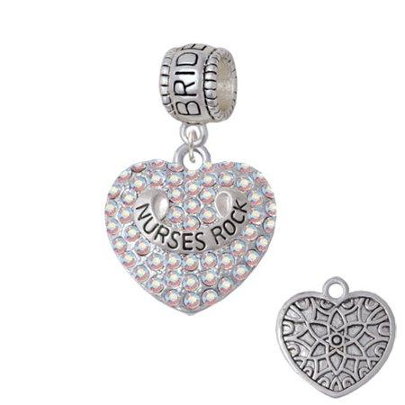 Nurses Rock on AB Crystal Heart - Bridesmaid Charm Bead