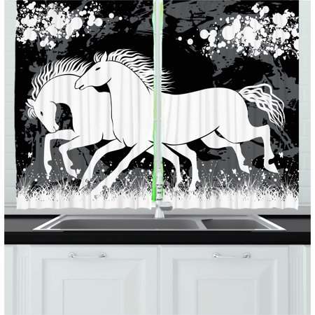 Modern Curtains 2 Panels Set, Antique Roman Time Gladiator Two Race Horses with Paint Marks Image Print, Window Drapes for Living Room Bedroom, 55W X 39L Inches, Black White Grey, by Ambesonne
